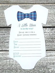 Image Is Loading 10 Boy Bow Tie Baby Shower Invitations With