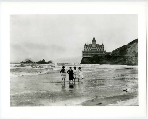SAN FRANCISCO VICTORIAN CLIFF HOUSE with WOMEN WADING in OCEAN~8x10 GLOSSY PHOTO
