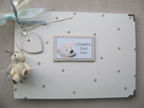 A4 SIZE PHOTO ALBUM//SCRAPBOOK//MEMORY BOOK. PERSONALISED NEW BABY. FIRST YEAR