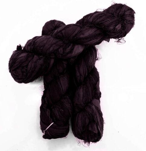 Deep Plum 100g Recycled Sari Silk Ribbon Yarn Jewelry Making Trim