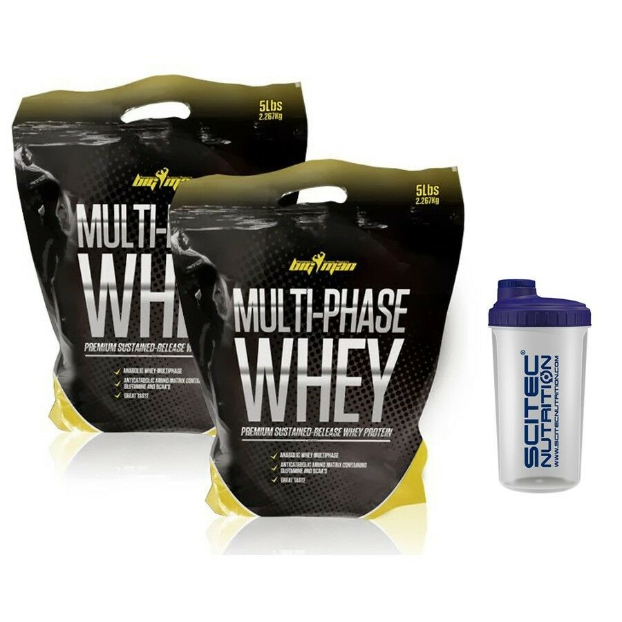 2 SACOS BIGMAN Proteina Multi-Phase Whey 10lb ( 4536gr ) COOKIES CREAM + shaker