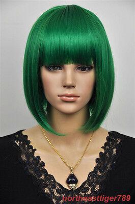 Hot Sell Fashion Green Short Bob Straight Bangs Women's Lady's Hair Wig Wigs+Cap