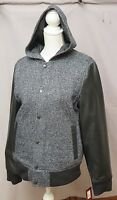 Tony Hawk Hooded Faux Leather Varsity Men's Charcoal Jackets Size Small & Large