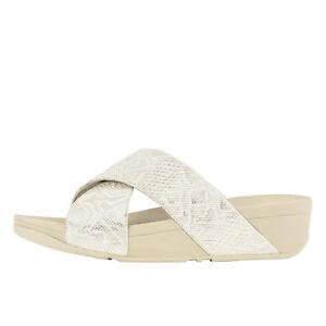 b463f25d53788 Fitflop Lulu Python Criss Cross White Women s Slide Sandals M79-194 ...
