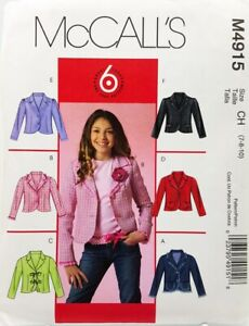 Girls-Jacket-Sewing-Pattern-M4914-Size-12-14-16-McCalls-6-Styles-Easy