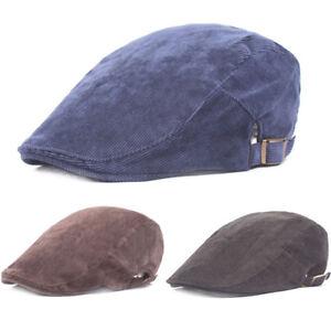 Hommes-Casual-Solid-Color-Soft-Golf-berets-de-conduite-en-Velours-Cotele-Casquette-Sun-Newsboy-Hat