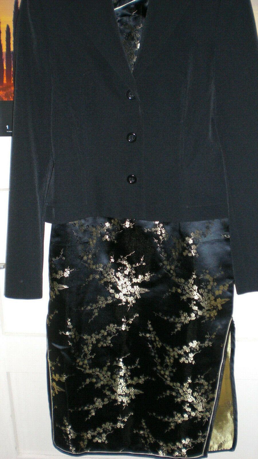 Kleid Japanisches Seidenkleid 36 schwarz Gold Damenkleid mit Blazer von Apart