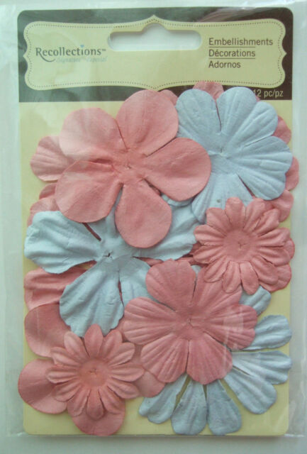 ~MAUVE PINK & LIGHT BLUE FLOWERS~ Recollections Floral Embellishments; 12 pcs.