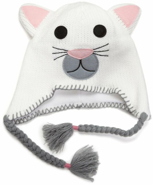 1ce2623b14a Neff Unisex Critter White Grey Kitty Cat Kitten Beanie W Tassels for ...