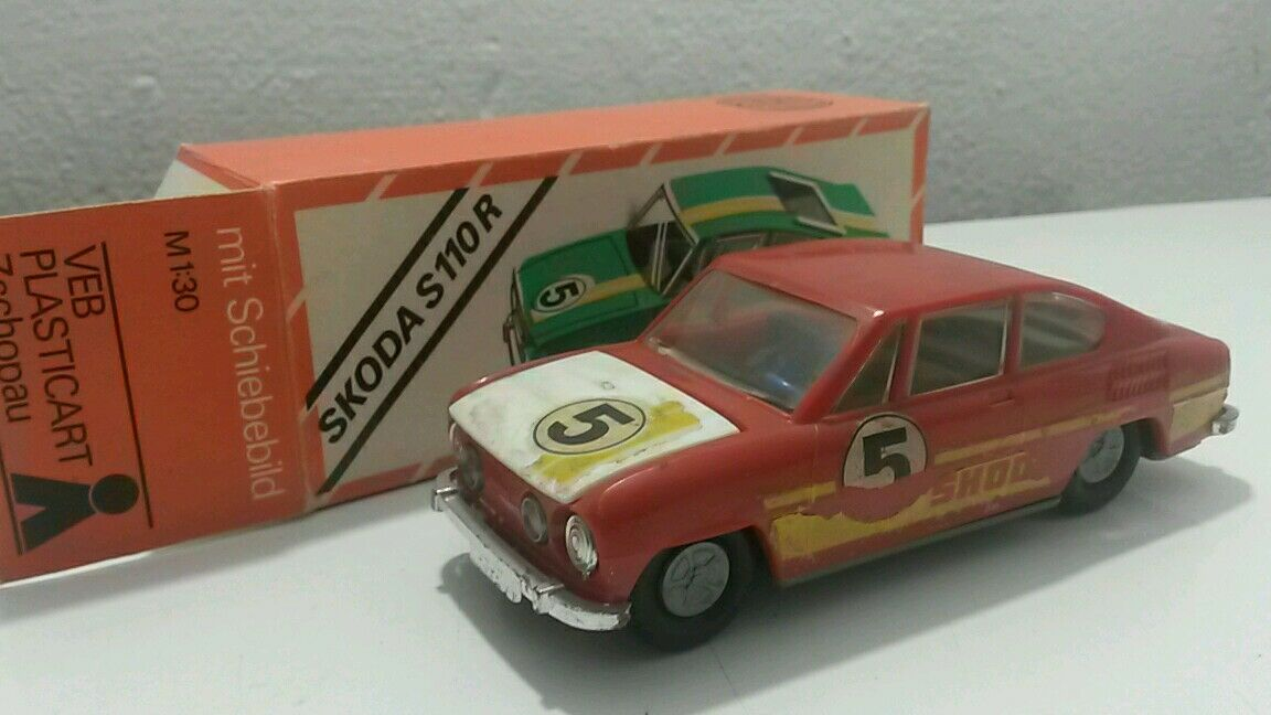 VINTAGE SKODA S110R TOY CAR FRICTION M 1 30 GDR GERMANY VEB PLASTICART ORIGINAL