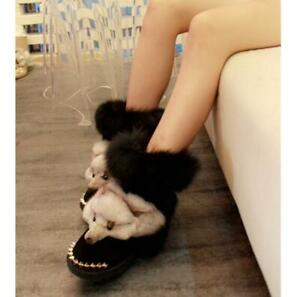 Ladies-Real-Fox-Fur-Trim-Furry-Mid-Calf-Snow-Boots-Fur-Lined-Winter-Warm-Shoes