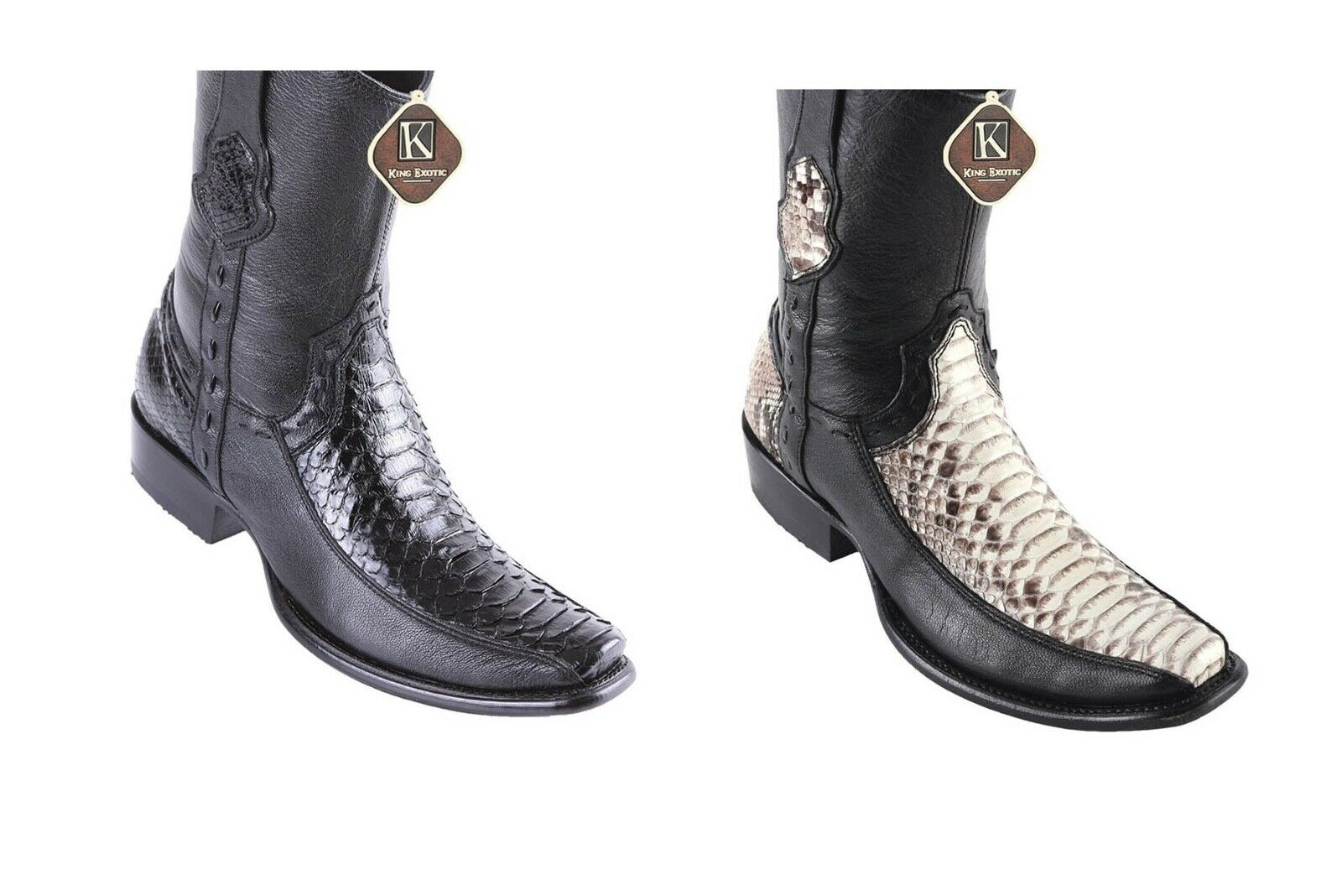 Men's King Exotic Python Boots With Deer Dubai Toe Handcrafted