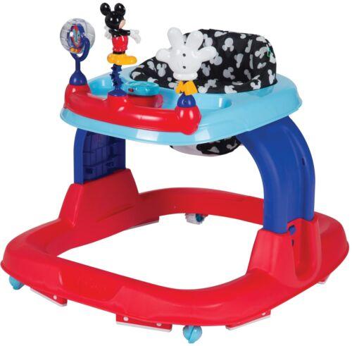Disney Mickey Mouse Infant Walker Adjustable Seat Sturdy Base Lights Sounds Baby