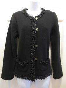 0 Jacket Jewel Uld Sort 149 Nwt Jazzy Beaded Kvinder Blazer Cardigan Chicos azcwP