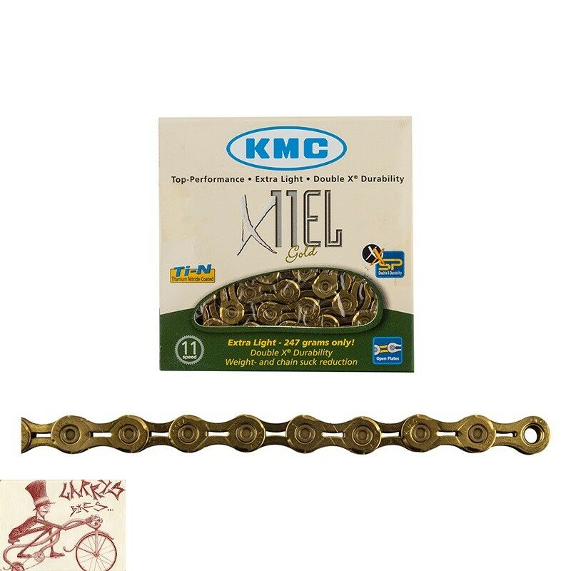 KMC X11EL 11 SPEED 1 2  X  11 128 ---118 LINKS TI-N gold MTB-ROAD BICYCLE CHAIN  the best selection of
