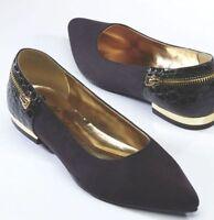 Womens Bellini Black Nova Microsuede Flats Shoes Size 9.5