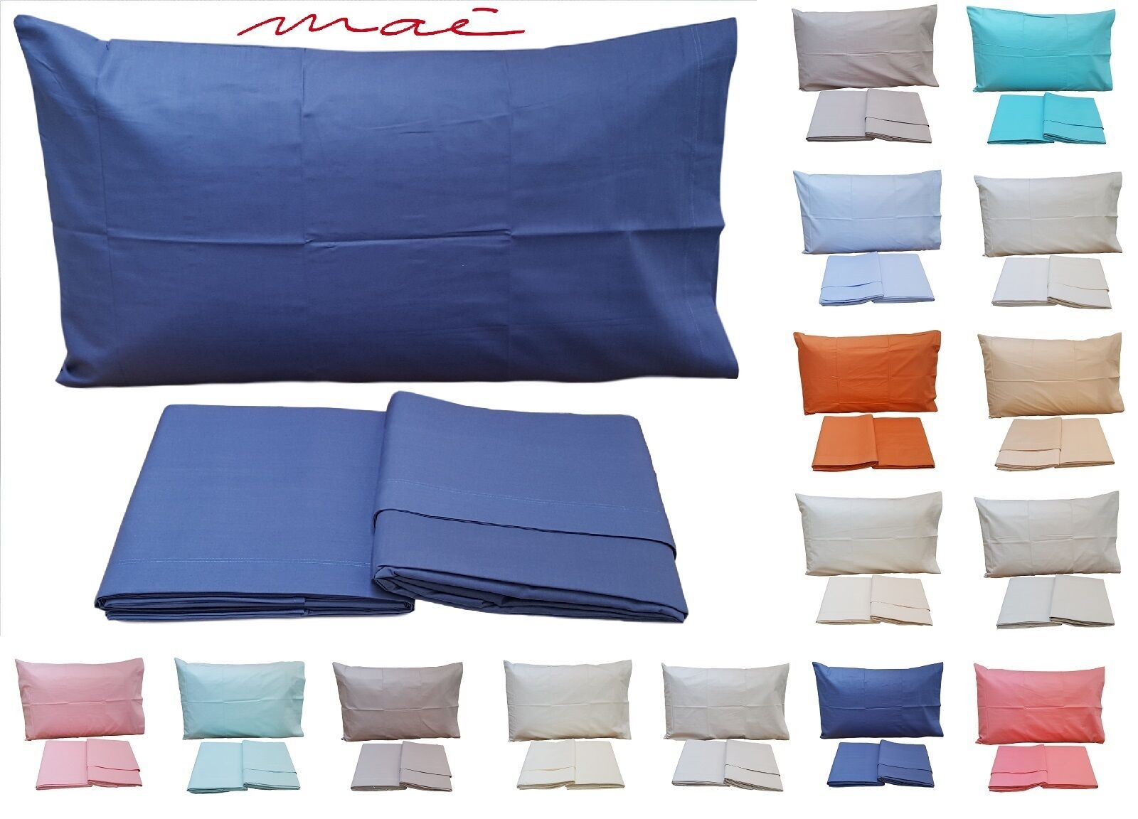 St sheets 4 pieces MAE '. IN COLOURS Double - 2 squares 100% Cotton