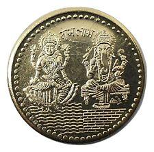 Laxmi Ganesh Ganesha Lakshmi Gold Plated Fortune Coin Puja Yantra Temple Coin