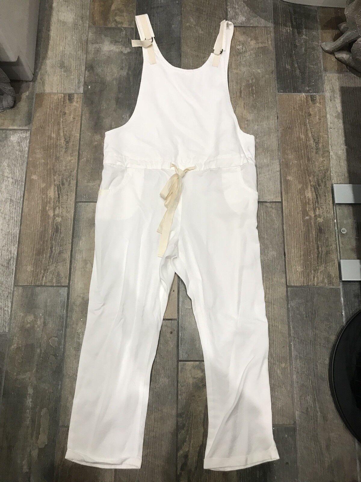 Mango White & Natural Waist Tie Jump Suit Size M New