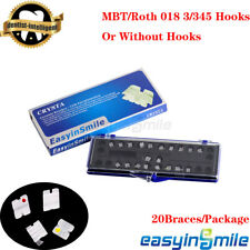 20pc Dental Orthodontic Ceramic Bracket Clear Brace 018 022 Rothmbt Hooks 3345