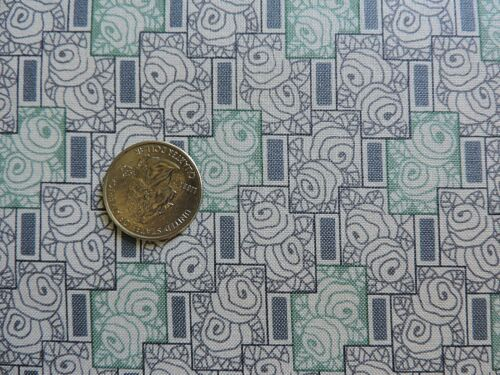 100/% Cotton Fabric By The Yard Andover Grayish-Blue and Teal Abstract Roses