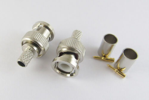 100 Sets 3 Piece BNC Male Crimp For RG59 RG-59 Coaxial Cable Connector Plugs