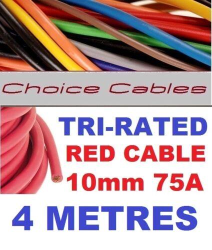 TRI Rated Cavo 10mm 75 Ampere 4 Metri ROSSO AUTO BARCA GUAINA FILO bs6231 filo quadro 4M