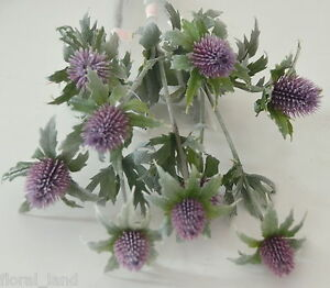 3 x ARTIFICIAL SILK FLOWER WEDDING SCOTTISH THISTLE FLOWERS PURPLE GREY STEMS  eBay