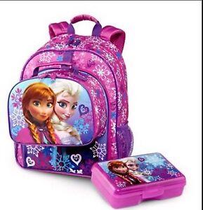 08ad4d1bce6 NEW DISNEY FROZEN ANNA   ELSA SCHOOL BACKPACK LUNCH BOX TOTE BAG ...