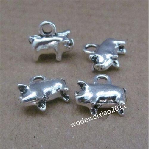 15pc Tibetan Silver 2-Sided Pig Animal Pendant Charms beads wholesale JP696
