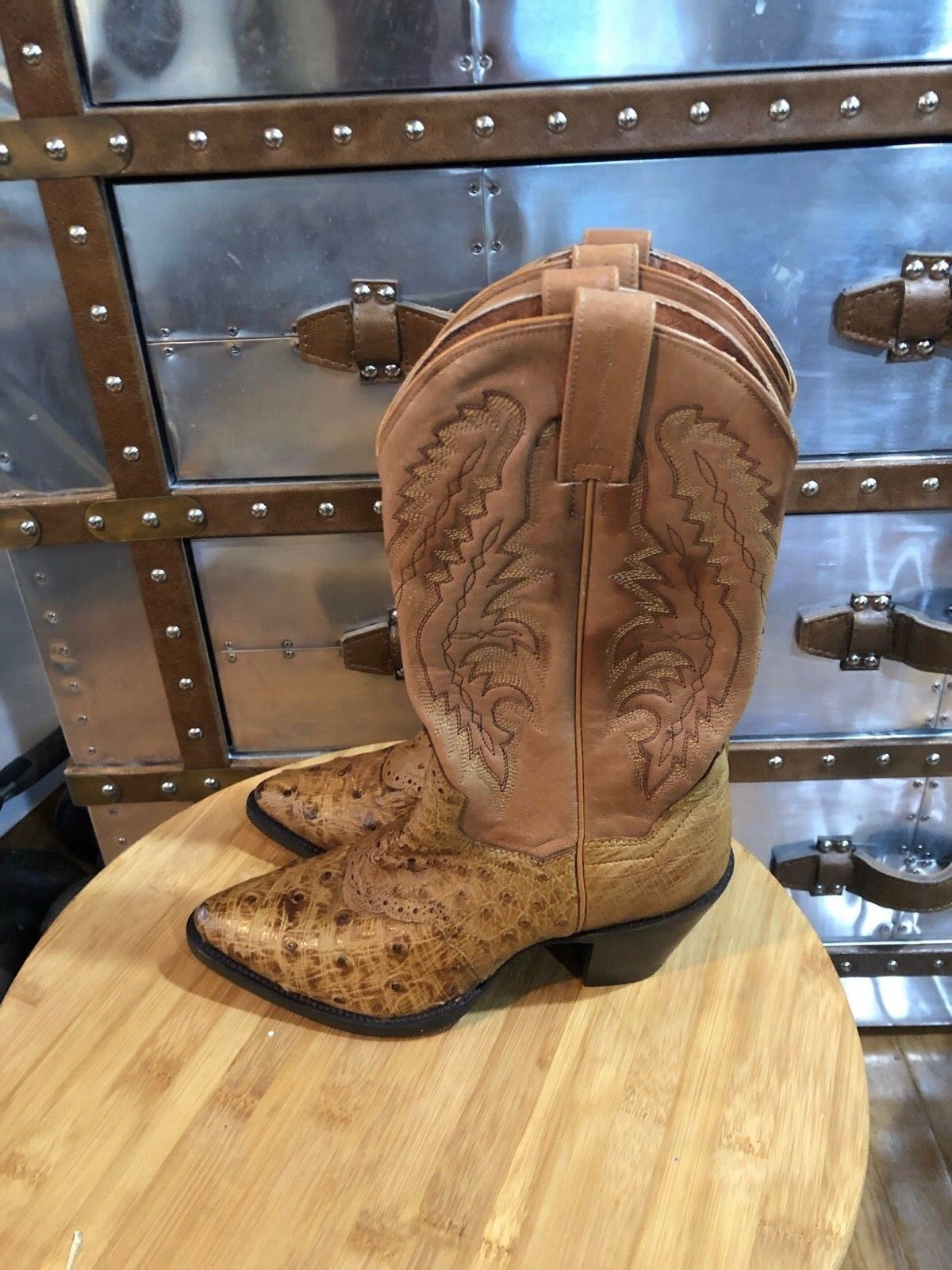 Dan Post Junction Full-Quill Ostrich Cowboy Western Brown Boots DP2773 6.5 M