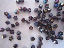 100 Austrian Crystal Glass Bicone Beads -Dark Purple AB -4mm