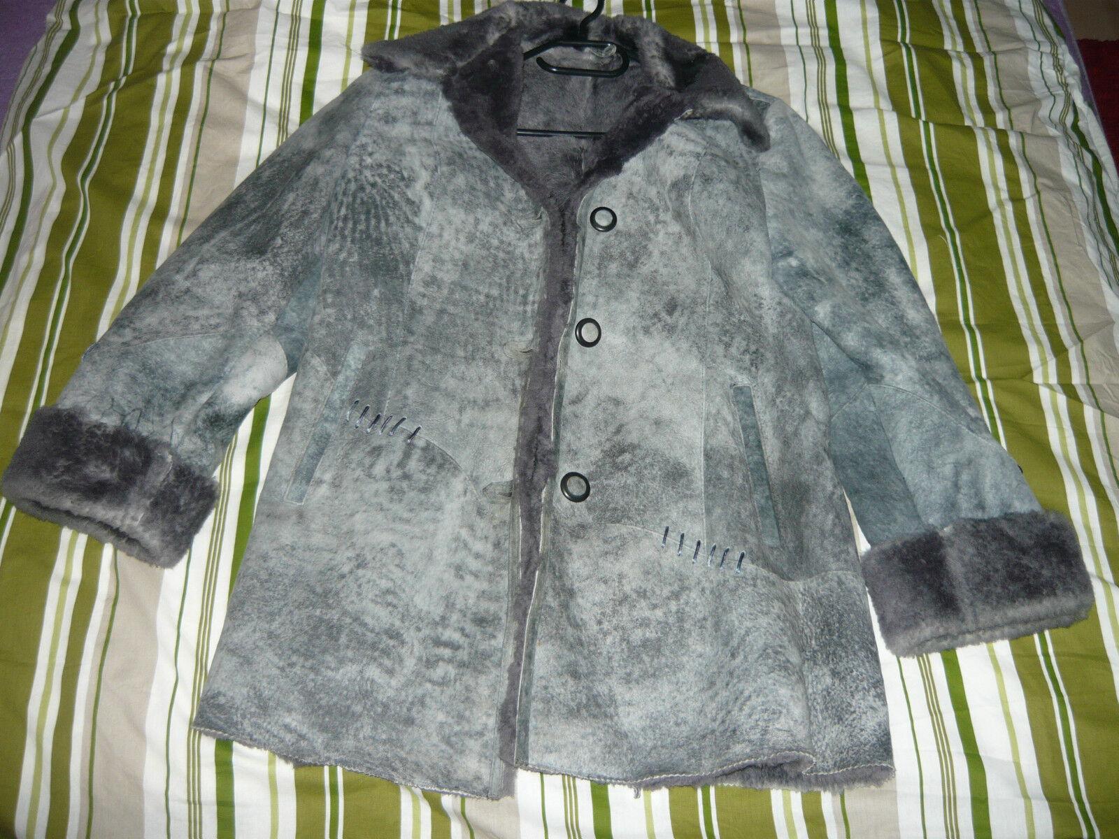 Leder Mantel Winter, grey blue, neuwertig, ausprobiert, nicht getragen Gr 42 44