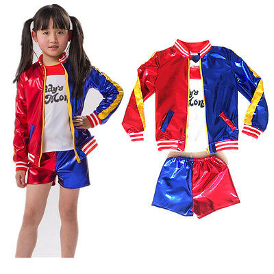 Kids Girls Suicide Squad Harley Quinn Coat Shorts Top Set Halloween COS Costume