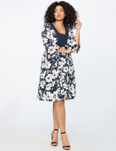 4a037a36e68 Eloquii Dress Sz 14 Fit Flare Floral Print Black White Daisy Womens Plus  V-Neck