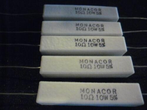48 x 10mm. Résistance cémentée Monacor.ciment 5pcs 10w,5/% 10 ohm