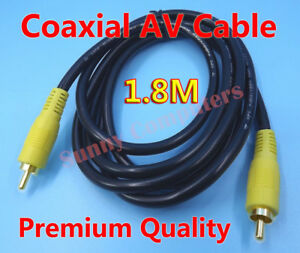 Phono-Plug-Digital-Coaxial-SPDIF-RCA-Yellow-Composite-Audio-Video-AV-Cable-1-8m