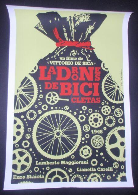 BICYCLE THIEVES / Cuban Silkscreen Tribute Poster for Italian Movie / CUBA ART