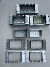 Lot Of 12 3 Gang Amp 4 Gang Steel Electrical Box And Covers Mud Ringraised Plat