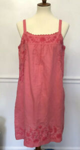 Lucky-Brand-Jeans-Pink-Embroidered-Peasant-Tank-Slip-Dress-Linen-Medium-NWT