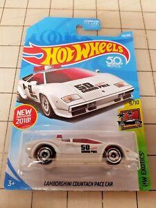 Hot Wheels 2018 Lamborghini Countach Pace Car White HW Exotics 50th Anniversary