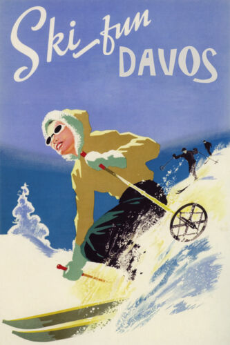 GIRL DOWNHILL SKIING SKI FUN DAVOS SWITZERLAND WINTER SPORT VINTAGE POSTER REPRO