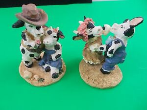 "Cow Figurines cowboy country cows romantic rodeo 31/2"" farm yard animals"