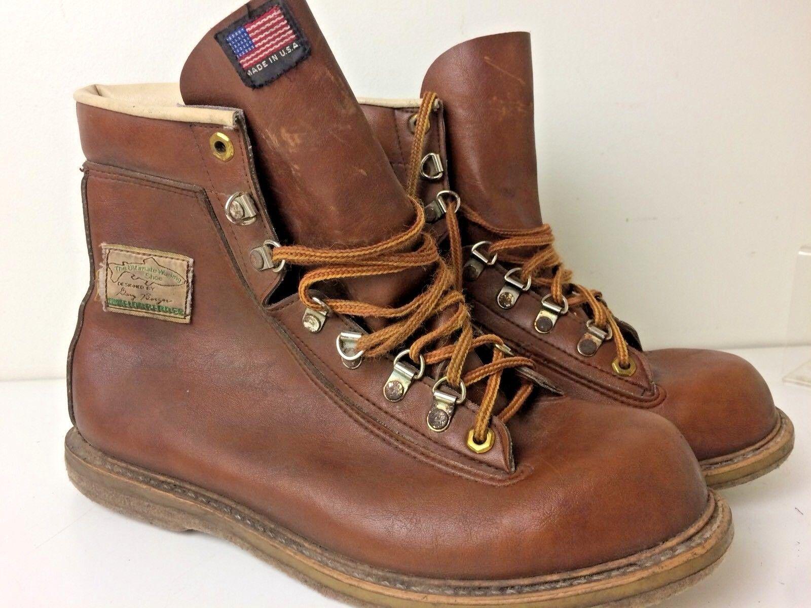 Vintage 80's Weinbrenner Ultimate Wading scarpe Gary Borger Fishing stivali 9