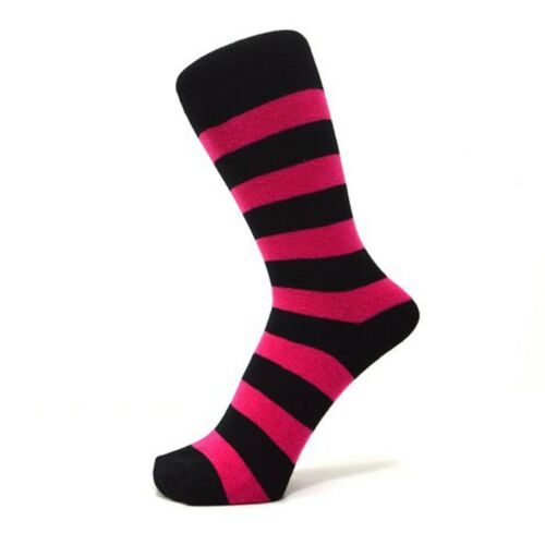 Black And Fuchsia Pink Thick Striped Ankle Socks Size: 6-11