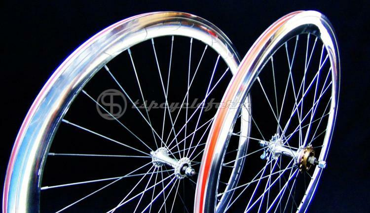 Coppia set ruote bici 700c cromo 45mm fixed bike 28  bicicletta single speed 1v
