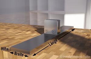Edelstahl Aufsteller Spuckschutz Glashalter Klemmhalter eckig mit Fuß 50x10mm