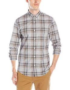 NWT-Original-Penquin-Mens-Long-Sleeve-Heathered-Plaid-Griffin-Shirt-Sz-XL