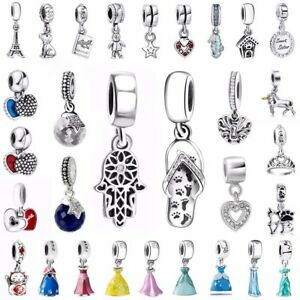 European-Crystal-Pendant-Charms-Bead-Fit-925-Silver-Sterling-Bracelets-Necklace