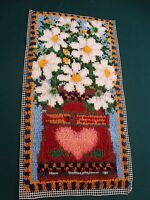 Complete Latch Hook Rug Daisy Basket Wall Hanging Finished 16 X 31 Needs Bound